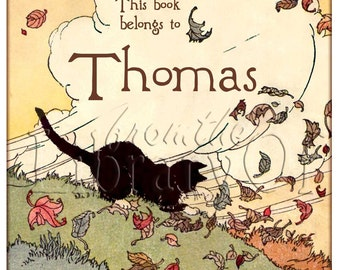 Kitty Chasing Leaves - Personalized bookplates - Adhesive bookplates - Lovely gift