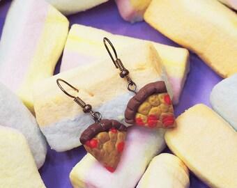 Salami Pizza Love Earrings