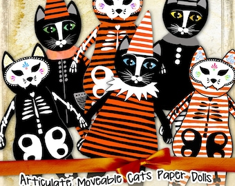CAT PAPER DOLL digital altered art - Digital collage sheet halloween journal page scrapbooking  - instant download printable - pp308