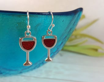 Wine Earrings, Wine Glass Earrings, Wine Jewelry, Wine Gift, Red Wine Earrings, Mom Gift, Gifts for Her, Red Wine Jewelry, Mom Gift
