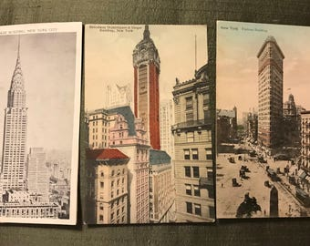 """Early 1900""""s New York City buildings linen and cardstock"""