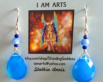 Bright Blue Quartz earrings