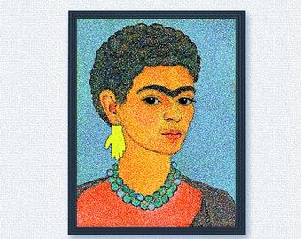 Frida with a short hairstyle self portrait oil painting (Puntualizm imitation)| Frida Kahlo digital art print