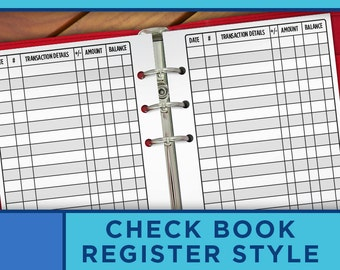 Personal Planner Inserts Printable Checkbook Register Bill Pay Checklist - Happy Planner Inserts - Erin Condren Filofax, Midori - P005