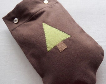 Only ONE Left - Man-Appropriate Brown Flannel Hot Water Bottle Cover with Green Pine Tree