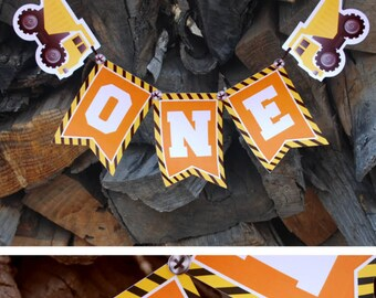 Construction Birthday Banner, Construction High Chair Banner, Construction Birthday, Decoration, Under Construction, Dump Truck, Banner, One