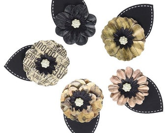 Paper Flowers by Prima Marketing, Cartographer Paper Flowers, Set of 5