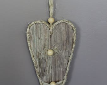 Heart Driftwood ornament, bead and cord. To hang
