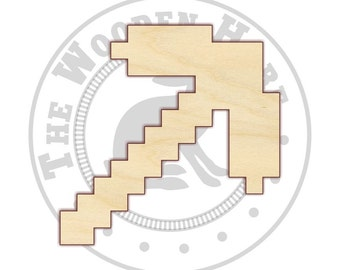 Pixelated Pickaxe Wood Cut Out - 160144 - Unfinished wood, Various sizes, Cutout Sign Wood Craft Shapes