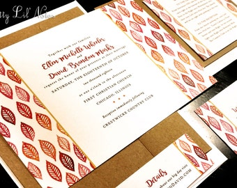 Fall Leaves Leaf Custom Unique Wedding Invitation Horizontal Garden Outdoor Spring Summer Kraft Garden Red Orange Green Purple Gold Brown