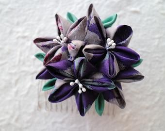 Japanese tsumamizaiku Capsule Flower clip kanzashi Hair Accessory Purple