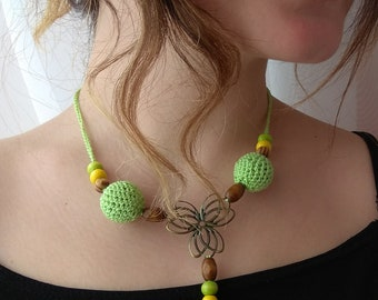 Crochet Jewelry Crochet Pendant Necklace Crocheted Necklaces  Women's Necklace Green Necklace,Gift To A Woman And A Girl
