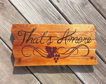 That's Amore - Italian - painting on reclaimed lath