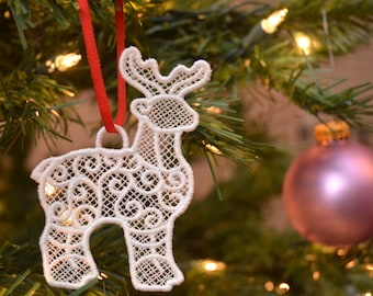 Reindeer embroidered lace ornament