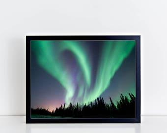 AURORA Canvas Borealis at Fairbanks Alaska Painting Art Print Home Decor Home Print Aurora Art