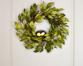 Twig and Leaf Wreath with Birds Nest and Eggs, Spring Wreath, Green Wreath, Wreaths for Front Door,Gifts for Mom,Wreath,Wreaths