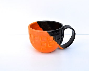 Pottery mug - Coffee cup in Black and orange - large ceramic coffee mug - handmade mug - housewares - kitchen