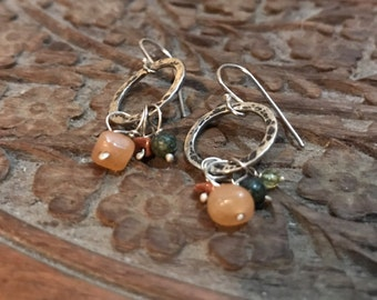 Sterling Silver Hoop Earrings - Sterling Hoops with Gemstone Charms - Silver Dangle Earrings - Autumn Jewelry - Fall Colors
