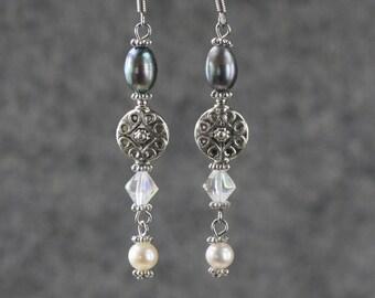 Perle et breloque linéaire longue boucles d'oreilles pendantes jeune nous livraison gratuite à la main Anni Designs