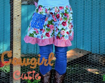 PDF Apron Pattern Instant Download Cowgirl Cutie Half Apron Pattern PDF Easy to Sew Kitchen Vintage Market