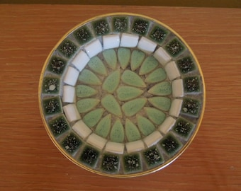 Mid Century Mosaic Catch All Dish with Green Leaf Motif