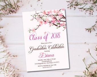 Cherry Blossom Class of 2018 Graduation Invitation Card/Graduation Announcement/Pink Flowers High School Graduation Card/College Graduation