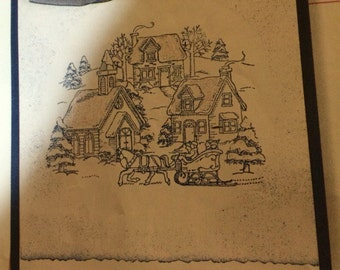 Stampin Up CHILL OF WINTER Set of 4 mounted stamp set  1998  Retired  Snow Capped Trees  Skaters Village Horse Sleigh