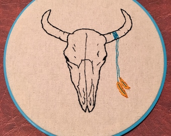 Cow Skull Embroidered Hoop