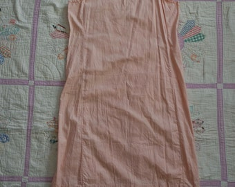 Vintage 1940s Cotton Slip - Baby Pink Slip Dress - Cotton Tank Dress - Pink Cotton Slip