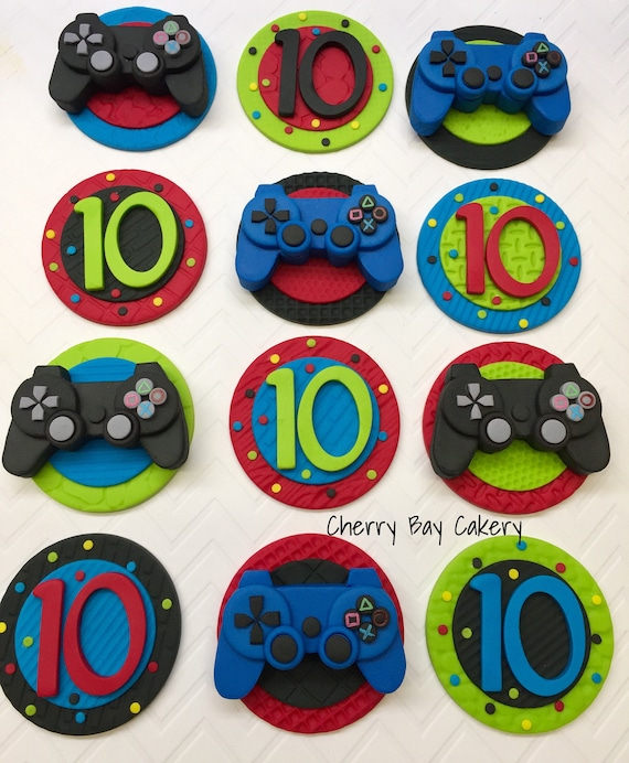 Fondant Video Game Cupcake Toppers Video Game Birthday Gamer