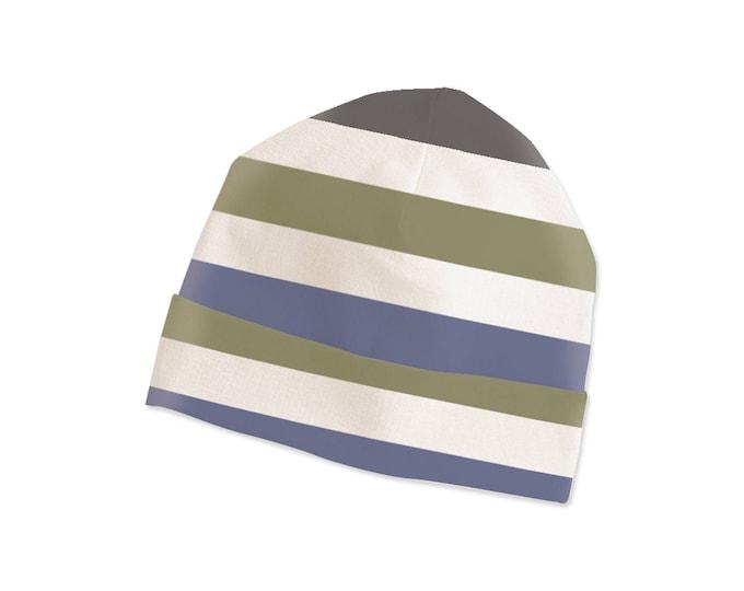 Baby Hat, Newborn Beanie, Unisex Baby Hat, Boy & Girl Beanie, Stripes, Green, Blue, TesaBabe