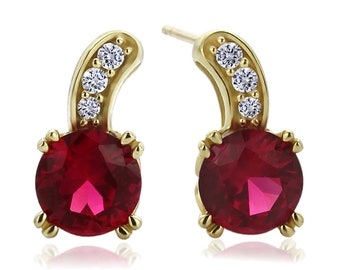 14K Yellow Gold Round Red Cubic Zirconia Stud Earrings(DJBSET292-E)