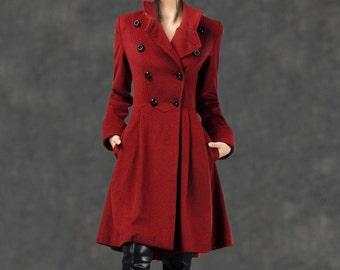 Military Coat, wool coat, winter coat, warm wool coat, fit and flare coat, red wool coat, custom coat, womens wool coat, warm coat (C788)