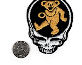 1980's, Grateful Dead, Steal Your Face Skull, Yelow Dancing Bear, Embroidered Patch, Iron on Free ship syf