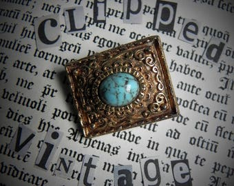 Vintage Gold Filigree Brooch with Turquoise Stone