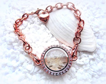 Floating charm bracelet rose gold tone flower glass Locket rhinestone