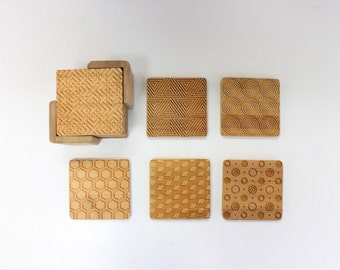 Geometric Pattern, Wood Coaster, Square Wood Coaster, Engraved Coasters, Housewarming Gift, - Set of 6 --22045-CST2-001