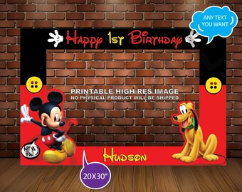 Mickey Mouse PHOTO BOOTH FRAME,  Mickey & Pluto Party, Mickey Mouse Party. Printable
