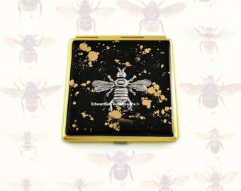 Antique Silver Queen Bee Square Compact Mirror Inlaid in Hand Painted Enamel Neo Victorian Inspired with Color and  Personalized Options