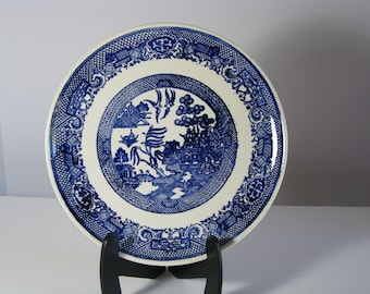 Vintage Blue Willow porcelain china luncheon plate by SCIO 9 1/8 inches