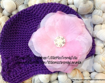 Purple Baby Hat with Flower, Purple Baby Hat- Flowers, Baby Beanie Flower Hat, Hat Baby Prop Purple Hat, Newborn Purple Hat with Flowers