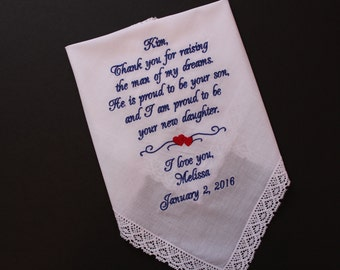 Mother of the Groom Handkerchief, thank you for raising the man my dreams, Mother of the Groom gift from Bride, Personalized Wedding. LS0F38