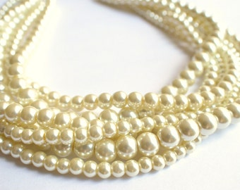 Carlotta - Ivory Pearl Statement Necklace Multi Strand Necklace Bridal Necklace