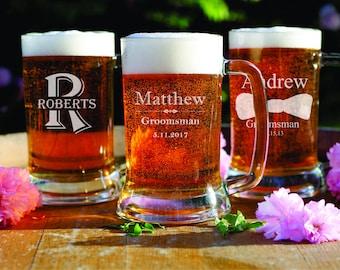 11 Custom Beer Glasses - Personalized Beer Mugs - Guy Gifts - Groomsman - Best Man - Home Bar - Engraved Gifts for Dad - Husband - Boyfriend