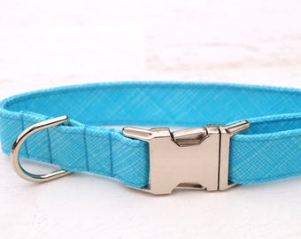 Aqua Dog Collar - Boy Dog Collar - Summer Dog Collar - Male Dog collar - Girl Dog Collar - Unique Dog Collars - Fabric Dog Collar