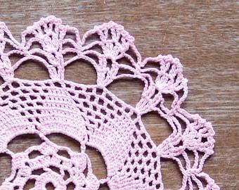 Pink Crochet Vintage Doily rose quartz