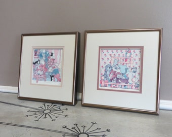 Francis Greenberg Art Print Signed and Numbered Cats Cats Cats The Peaceful Kingdom Lithograph Print Framed Art Kittens Animal Lover