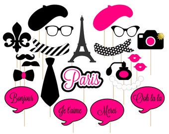 Printable Paris Photo Booth Props . Paris . Parisian . France . French . Hot Pink/Black . Instant Download