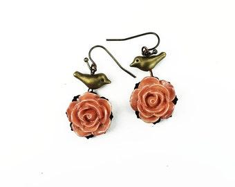 Peach Rose and Brass Bird Earrings