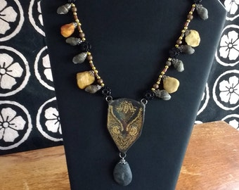 Black and Buff Mixed Media Necklace